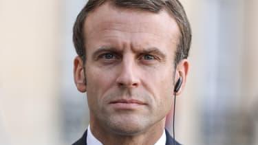 Emmanuel Macron lors d'une conférence de presse dans la cour de l'Elysée, le 11 octobre 2019