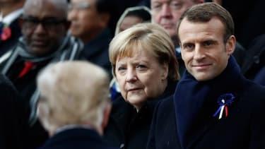 Angela Merkel et Emmanuel Macron à l'arrivée de Donald Trump lors de la cérémonie des commémorations du 11-Novembre à Paris.