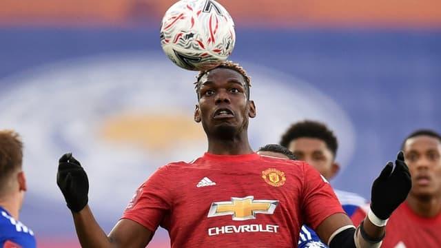 Paul Pogba revient bien avec Manchester United, opposé ici à  Leicester City en Coupe d'Angleterre au King Power Stadium, le 21 mars 2021