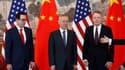 Steven Mnuchin (Secrétaire américain au Trésor), Liu He (vice-Premier ministre chinois), et Robert Lighthizer (Représentant américain au Commerce), le 1er mai dernier, lors de négociations à Pékin.