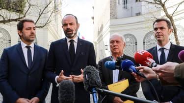Le ministre de l'Intérieur Christophe Castaner, le Premier ministre Edouard Philippe et le ministre de la Santé Olivier Véran, le 13 mars 2020