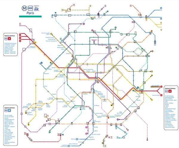 La carte des stations où les carnets de tickets de métro ne sont plus vendus.