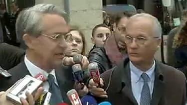 Philippe Marini et Gilles Carrez, les président des Commissions des Finances au Sénat et à l'Assemblée, à la sortie du ministère de l'Economie ce 11 avril.