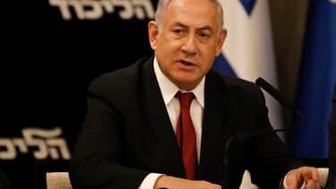 Benjamin Netanyahu à un meeting du Likud, son parti
