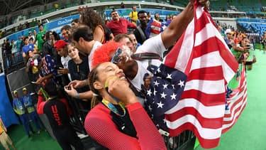 La TEAM USA Féminine après sa victoire contre l'Espagne aux JO de Rio