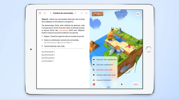 L'interface de l'application Swift Playgrounds