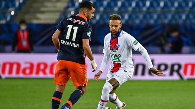 Neymar et Savanier lors de Montpellier-PSG