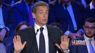 Nicolas Sarkozy, candidat à la primaire de la droite, lors du débat du 3 novembre 2016.