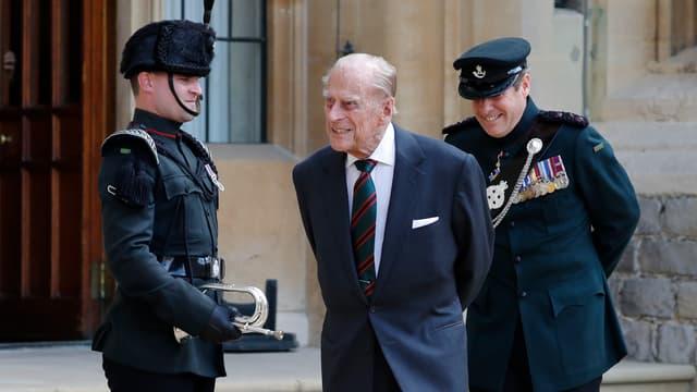 Le prince Philip mercredi lors de la cérémonie de ses adieux au régiment des Rifles