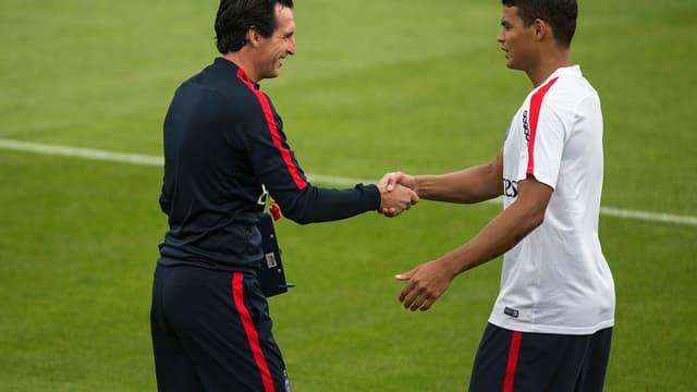 Unai Emery et Thiago Silva
