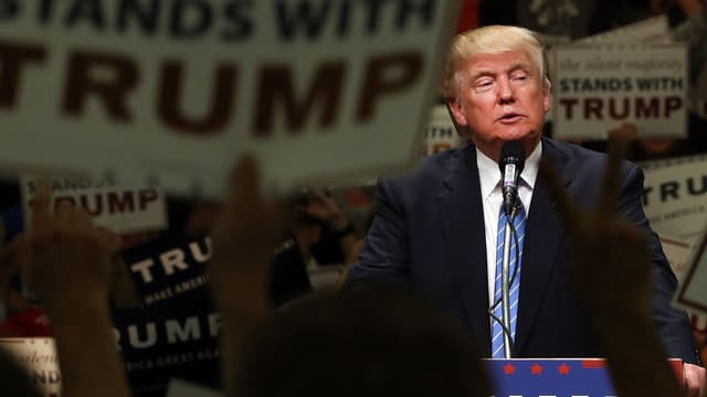 Donald Trump, lors d'un meeting à Anaheim, en Californie, le 25 mai 2016.