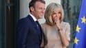 Emmanuel et Brigitte Macron, le 22 août 2019 à l'Élysée.