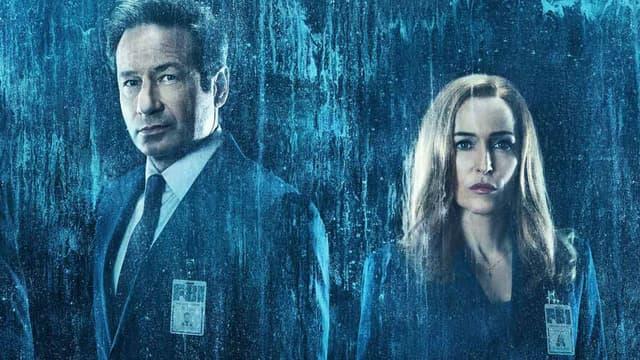 "David Duchovny et Gillian Anderson, stars de la série ""X-Files"""