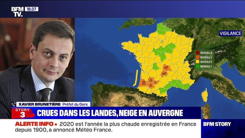 """Inondations dans le Gers: selon le préfet, """"il faut rester extrêmement vigilant car les cours d'eau pourraient se recharger"""" mercredi"""