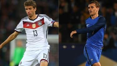 L'Allemand Thomas Müller (à gauche) et le Français Antoine Griezmann (à droite) les deux principaux atouts offensifs de leurs équipes respectives