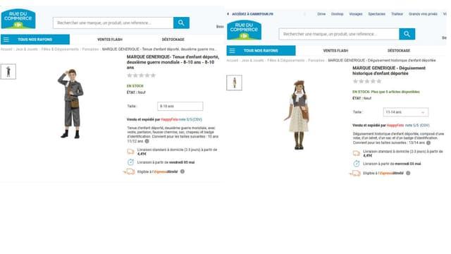 """C'est dans la rubrique """"jeux et jouets"""" du site de vente qui appartient à Carrefour que se trouvent ces deux costumes"""