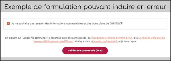 Interface du site OUI.sncf