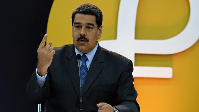 Le président vénézuélien Nicolás Maduro lors du lancement du petro mercredi.