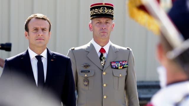 Emmanuel Macron et François Lecointre, le nouveau chef d'état-major des Armées.