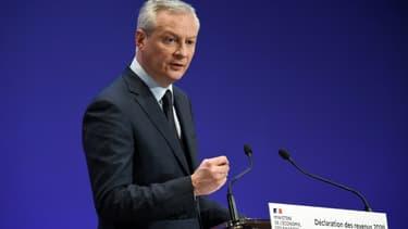 Le ministre de l'Economie Bruno Le Maire lors d'une conférence de presse à Paris, le 8 avril 2021