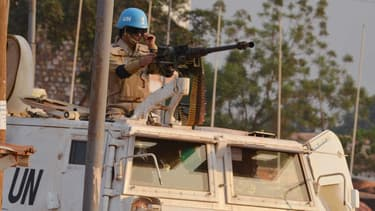 Un soldat marocain de la MINUSCA, la mission de l'ONU en République centrafricaine, en décembre 2015.