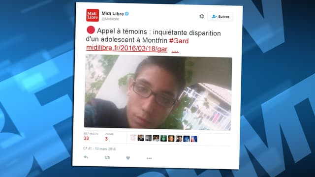 Le jeune Patrcie est porté disparu depuis le 17 mars, dans le secteur de Montfrin, dans le Gard.