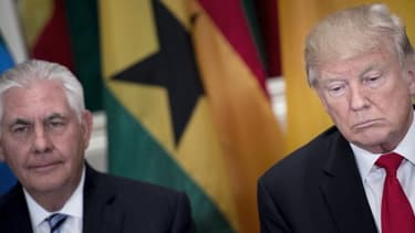 Le président des États-Unis et son secrétaire d'État Rex Tillerson le 20 septembre 2017