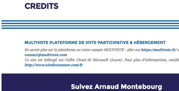 """Capture d'écran de la rubrique """"Crédits"""" du site de campagne d'Arnaud Montebourg, le 22 août 2016"""