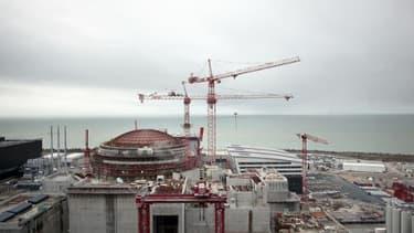 Vue du chantier du réacteur EPR de Flamanville (Manche), le 19 février 2014