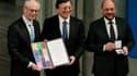 De gauche à droite, Herman Van Rompuy, président du Conseil européen, José Manuel Barroso, président de la Commission européenne et Martin Schulz, président du Parlement européen. Les représentants de trois des principales institutions européennes ont reç