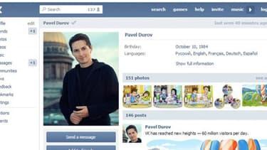 Profil de Pavel Dourov, fodnateur de Vkontakte, le Facebook russe, qu ia annoncé sa démission.