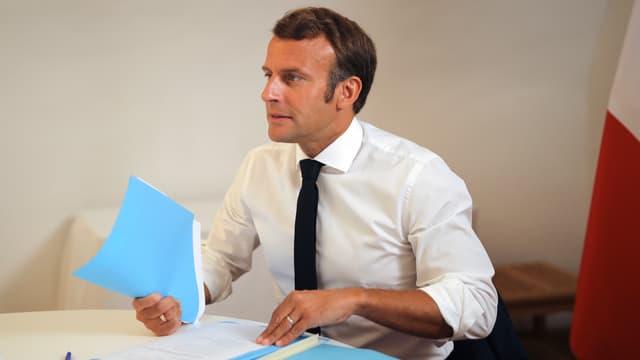 Emmanuel Macron au Conseil de défense.