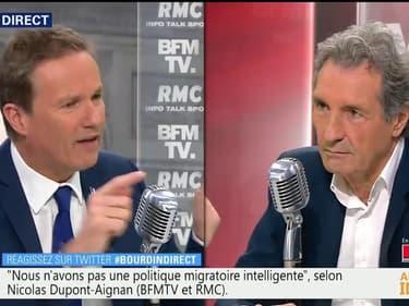 """Laurent Wauquiez """"est dans le double langage permanent"""", considère Nicolas Dupont-Aignan"""