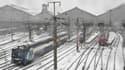 la gare Saint-Lazare sous la neige.