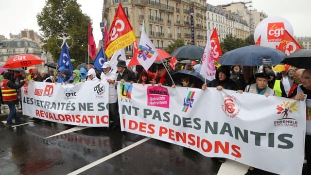 Une manifestation contre la réforme des retraites le 8 octobre 2019 à Paris