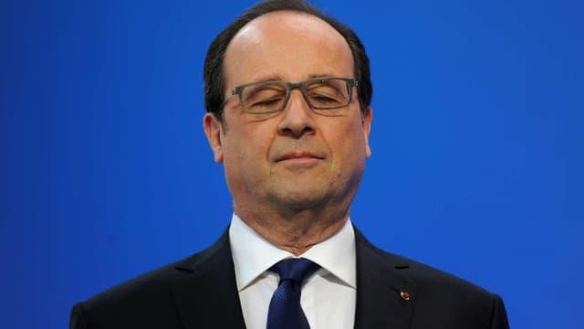 François Hollande avant un discours , le 21 avril 2016.