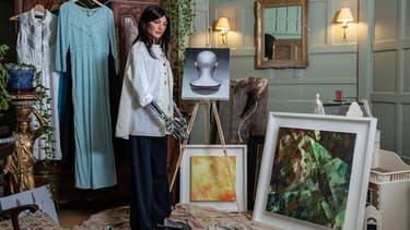 AI-Da, l'humanoide artiste, dans son atelier.