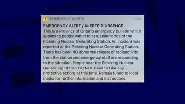 Le message reçu par les habitants de la province de l'Ontario