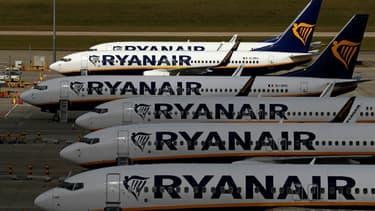 Des appareils de Ryanair stationnés à l'aéroport de Stansted le 20 août 2020
