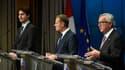 Justin Trudeau, Premier ministre canadien; Donald Tusk, Président du Conseil européen et Jean-Claude Junker, Président de la Commission européenne.