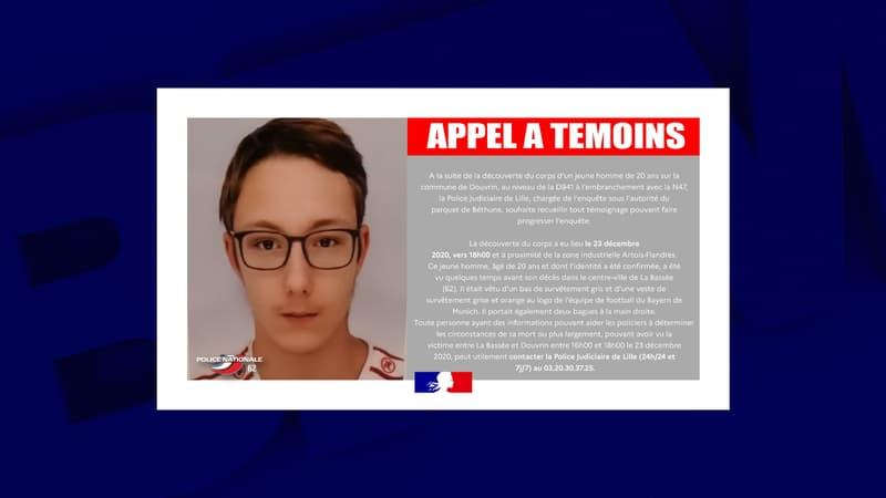 Pas-de-Calais: la police lance un appel à témoins après la découverte du corps d'un jeune homme de 20 ans