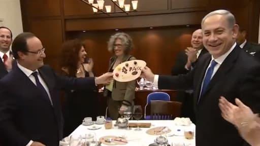 François Hollande et Benjamin Netanyahu, lors d'un dîner officiel, le 17 novembre dernier à Jérusalem.