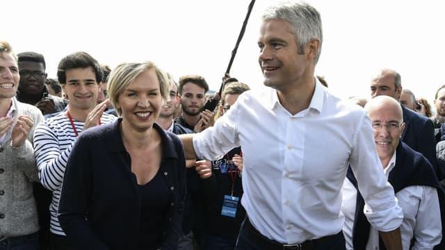 Le candidat à la présidence des Républicains Laurent Wauquiez et la première adjointe au maire de Bordeaux Virginie Calmels, le 3 septembre 2017.