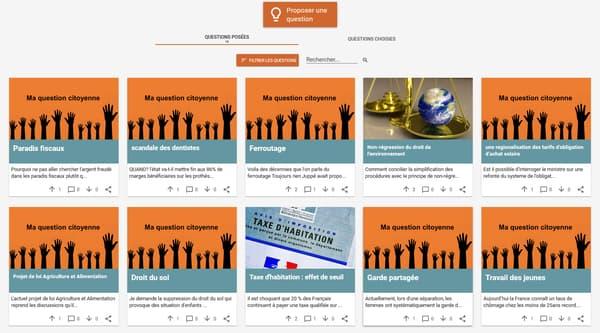 Capture d'ecran - La plateforme questions.parlement-ouvert.fr