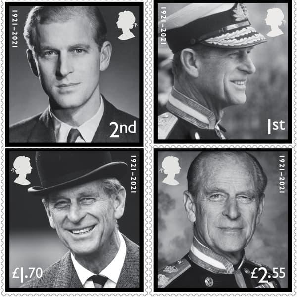 Les quatre timbres édités en hommage au prince Philip