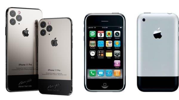 A gauche, l'iPhone 11 Pro customisé et à droite, l'iPhone original de 2007