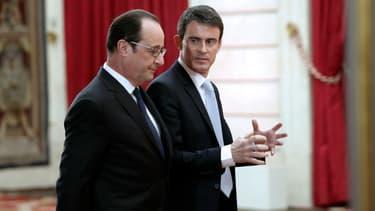 François Hollande et Manuel Valls lors de la conférence de presse du jeudi 5 février