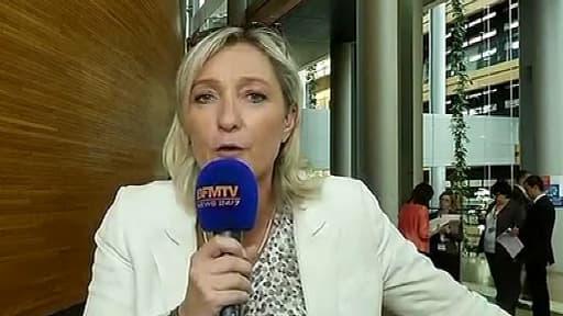 La présidente du Front national, Marine Le Pen, mardi au Parlement européen de Strasbourg.