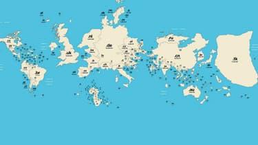 Sur la carte du monde des extensions de domaines, la taille de chaque pays est fonction du nombre de domaines enregistrés. C'est l'archipel de Tokelau le plus grand sur la carte!