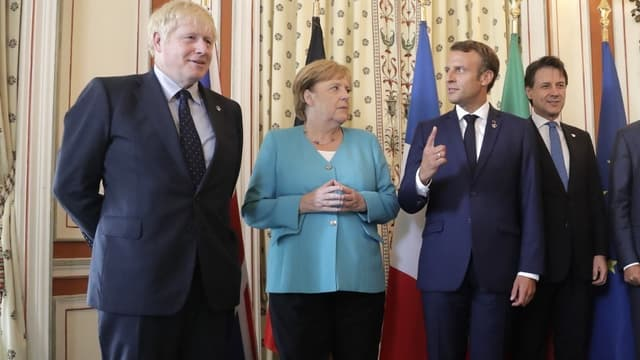 Boris Johnson, Angela Merkel et Emmanuel Macron à Biarritz le 24 août dernier.